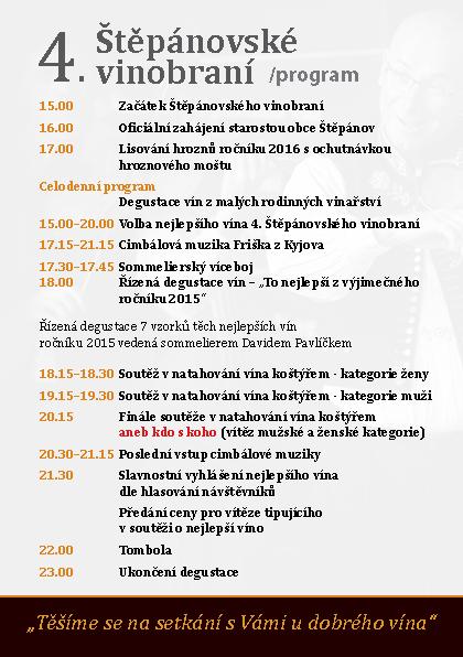 Program Štěpánovského vinobraní